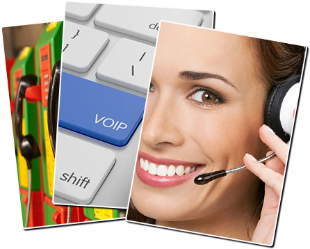 Illustration VoIP, hotesse casque micro